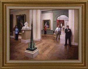 Steven J Levin oil musée  et cathé avec cadre